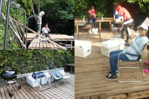 バーベキューができるウッドデッキ。左上は2018年夏で建築されてました。グリルもあります。右側の写真は一五川さんの皆さんとのバーベキュー。